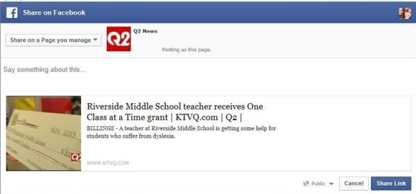 Screenshot of new Facebook post form.
