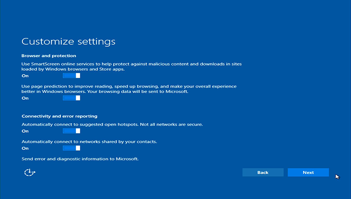 I noticed some disturbing privacy defaults in windows 10 for Window privacy options